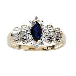 Sapphire Marquise and Diamond Accent Ring. 10K Yellow Gold  Jewelry