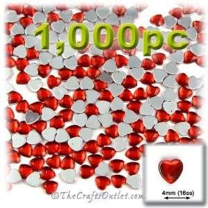 1,000pc Rhinestones Heart 4mm   flatback Ruby Red RED