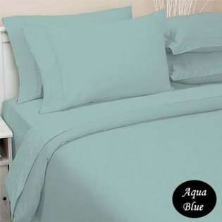 Cotton SOLID Aqua Blue Twin Duvet Cover with Fitted Sheet