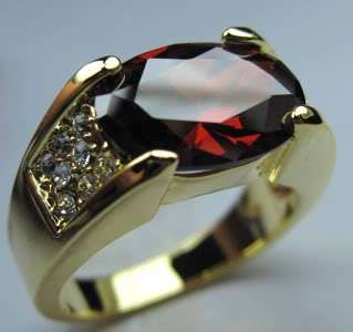 Jewellery New ruby mens 10kt yellow Gold GF Ring #10 free