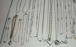 Huge Vintage Lot Chain Necklaces Pendants Charms Bracelets Rhinestone