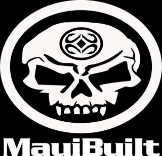 Mauibuilt skull & hook sticker decal maui hawaii aloha