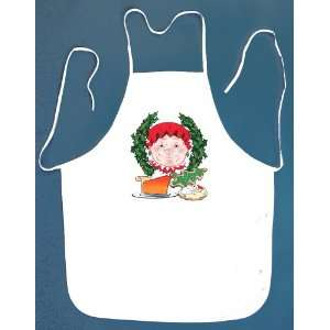 Mrs Claus Christmas Wreath Cake & Cookies Bib Apron with 2