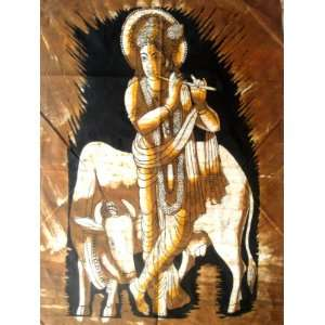 Hindu God Lord Krishna Indian Batik Tapestry Fabric Wall Decor Hanging