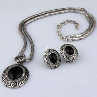 tibet silver ancient oval black agate earrings necklace set