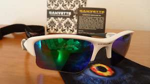 OAKLEY FLAK JACKET POLISHED WHITE GREEN POLARIZED XLJ CUSTOM