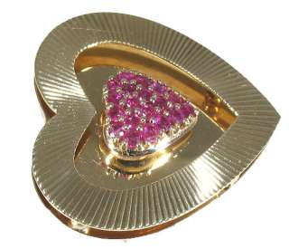 LADIES RUBY BROOCH ESTATE HEART 14K YELLOW GOLD PIN