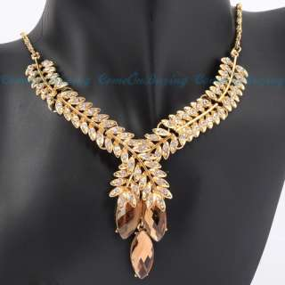 Golden Leaf Design White Crystal Olivary Beads Pendant Necklace