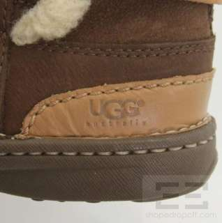 Ugg Dark Brown Suede Shearling Lace Up Boots Size US 6