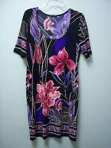 TRUE ENVY Womens Floral Black Pink Purple Tan Stretch Short Sleeve