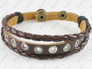 Surfer Tribal Brown Leather Bracelet Women Men w/Snap#2