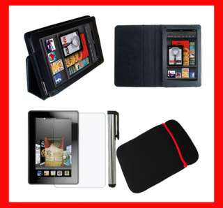 4IN1 BL for  Kindle Fire 7 Leather Stand Case Cover+Protector