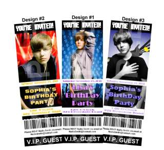 JUSTIN BIEBER Birthday Party TICKET Invitation Favors
