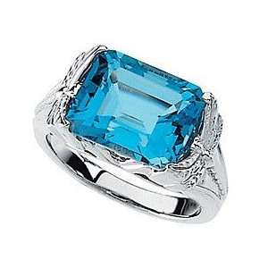 Stately Emerald Cut Swiss Blue Topaz White Gold Fashion Ring   Thick