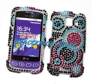 LG Optimus S LS670 Colorful Rhinestones Crystal Bling Phone Case Cover