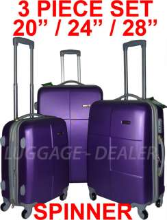 Piece Luggage Set PURPLE Spinner 4 Wheel Expandable ABS Hard Shell