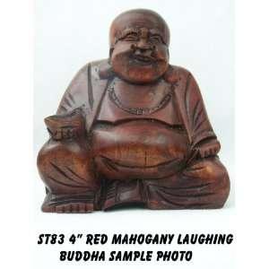 Art of Bali Zen Garden   4 Red Mahogany Laughing Buddha