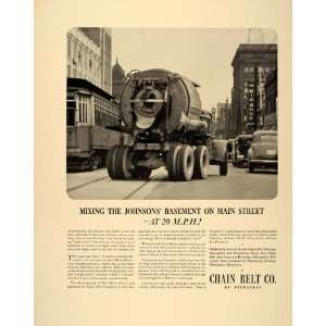 1940 Ad Rex Concrete Cement Mixer Chain Belt Company   Original Print
