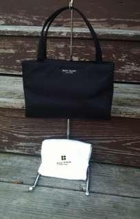 Black Nylon Mini Handbag Purse w White Sleeper Dust Bag! EUC!