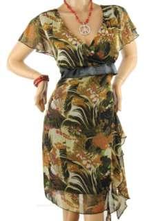 121AVENUE Lovely Multi Flower Print Dress Brown 1X NEW