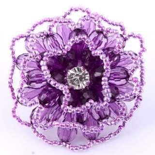 purple teardrop resin crystal multi layer flower blossom bead fashion