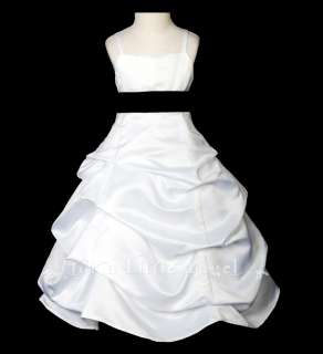 NEW SATIN with RED PINK BLACK LILAC FLOWER GIRL DRESS