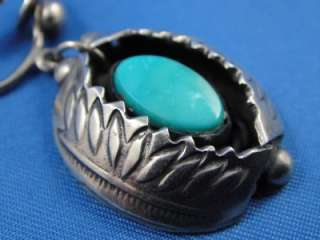 Native American STERLING Silver Turquoise SHADOWBOX Dangle Clip