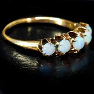 ANTIQUE VICTORIAN 5 OPALS NATURAL 14K ROSE GOLD VINTAGE ESTATE RING
