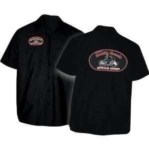 Throttle Threads Speed Shop Logo Shop Shirt, Black, Size