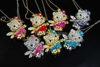 Fashion Charm Crystals HelloKitty Necklace Jewelry Swea