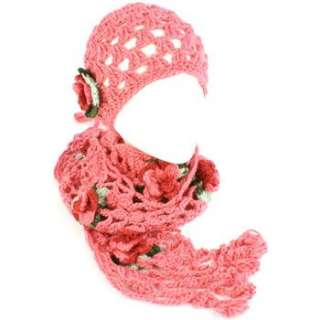 Set Crochet Flower Hand Knit Beanie Skull Ski Cap Hat and Scarf Pink