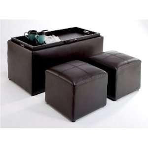 Concepts 143012 Sheridan Faux Leather Storage Bench 2 Ottomans E