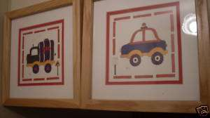 LOT 2 CAROL ROBINSON PAINTS GAS TRUCK,POLICE CAR FRAME
