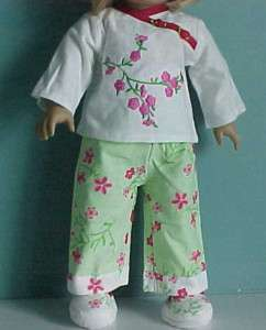 ORIENTAL PAJAMAS & MATCHING SLIPPERS fits American Girl