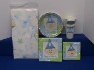 NEW BOYS 1ST FIRST BIRTHDAY PARTY SET / SUPPLIES TABLECOVER PLATES
