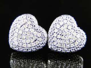 LADIES HEART PAVE DOME DIAMOND 12 MM EARRINGS 0.55CT