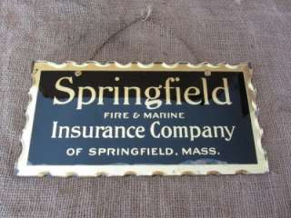 Vintage Springfield Insurance Co. Reverse Painted Glass Sign > Antique