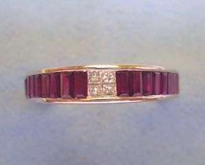 14K White Gold 0.10ct Diamond & 1.00twt Ruby Band Sz 7