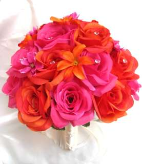 Bouquet silk wedding flowers ORANGE FUCHSIA HOT PINK CREAM LILY 17 pc