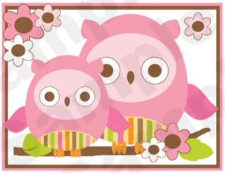 OWL PINK BROWN GREEN ORANGE FLOWER BABY GIRL NURSERY WALL BORDER