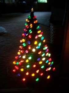 large VINTAGE LIGHTED CERAMIC CHRISTMAS TREE