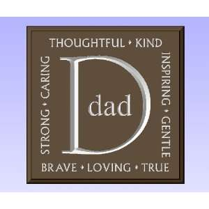 Decorative Wood Sign Plaque Wall Decor with Quote Dad Strong, Caring