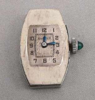 ART DECO BULOVA LADIES Wristwatch Wrist WATCH Rhodium Plated 15j SWISS
