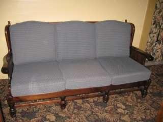 Ethan Allen Old Tavern Antique Pine Wood Framed 3 Cushion Sofa 7623