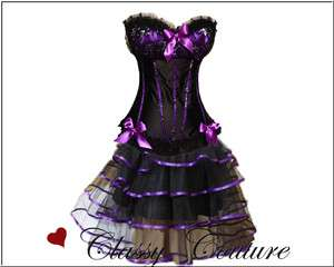 New Style Burlesque Moulin Rouge Corset & Skirt Costume Set   S/M/L/XL