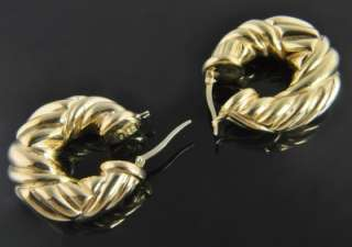Italy Estate Vtg 18K Gold Fluted Abstract Hoop Earrings