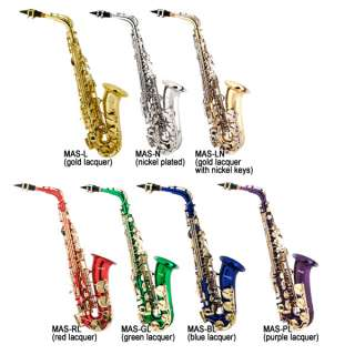 NEW GOLD NICKEL BLUE RED BAND ALTO SAXOPHONE +$39 TUNER
