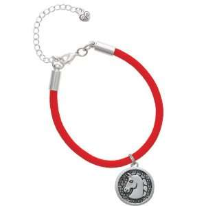 Large Classic Horse Head in Disc Charm on a Scarlett Red Malibu Charm