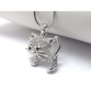 Super Cute Ice Crystal Covered Kitten Charm Necklace