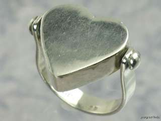 VINTAGE MEXICAN 925 STERLING SILVER SWIVEL HEART RING
